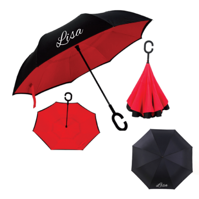 Personalised Inverted Umbrella - Red