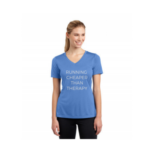 Personalised Ladies Competitor V-Neck T-Shirt - Light Blue