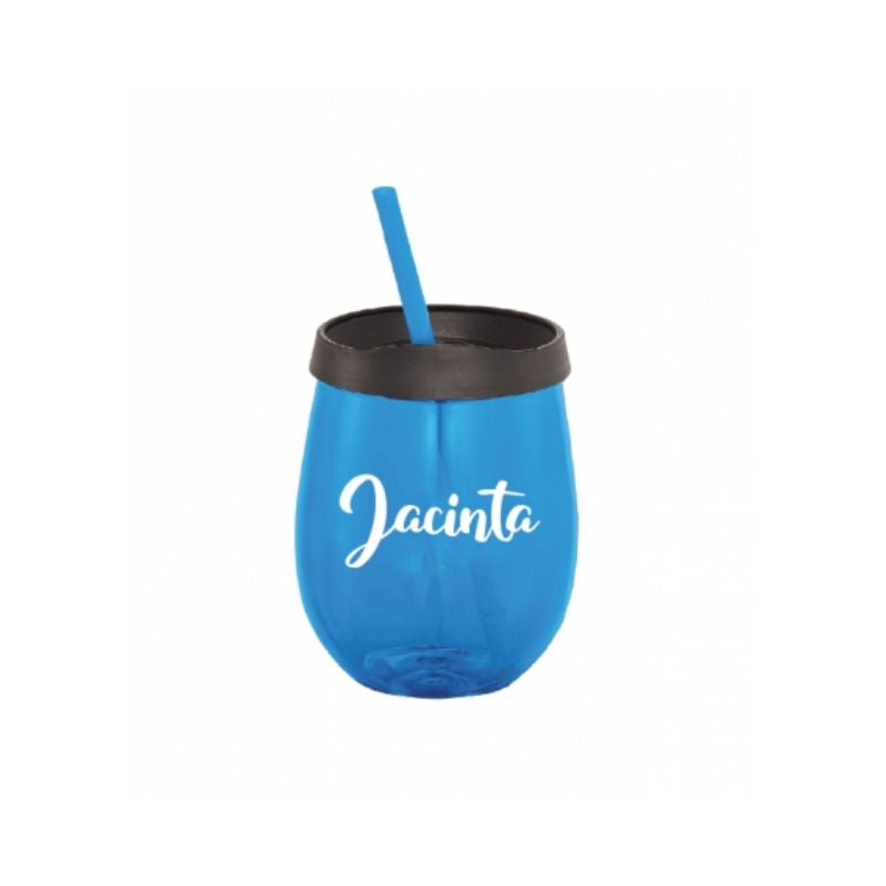 Personalised Stemless Tumbler with Straw - Blue