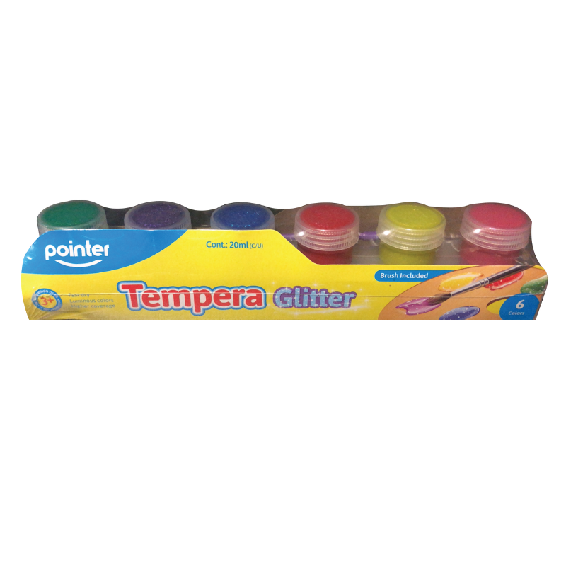 Pointer 20ml Tempera Glitter Paints (6/Pack)