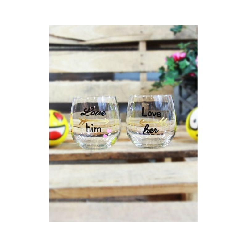 Tipsy - Stemless Wine Glasses Couples Set - Love Him, Love Her