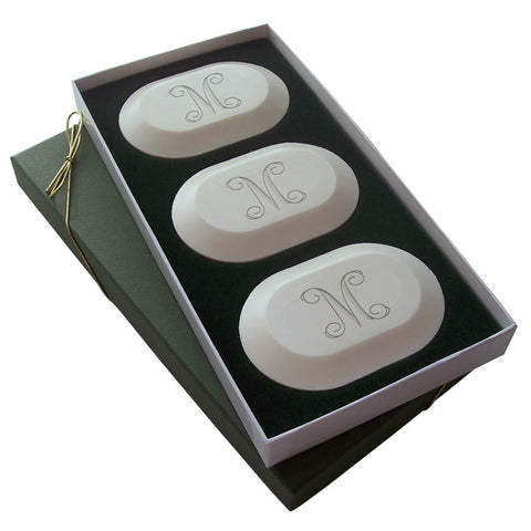 Personalized Luxury Three-Bar Soap Set by Carved Solutions