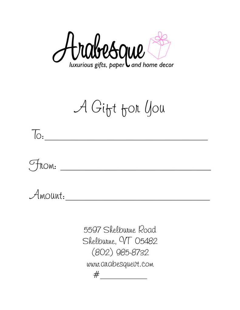 Gift Certificate at Arabesque of Vermont