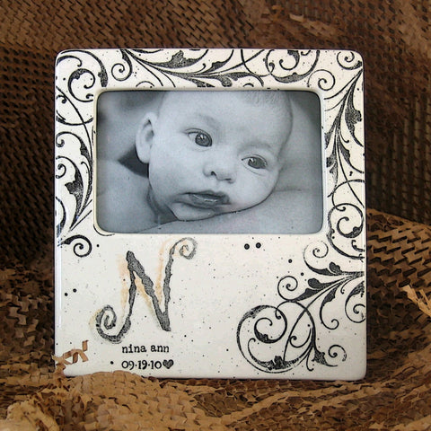 Monogrammed Baby Frame by Museware Pottery