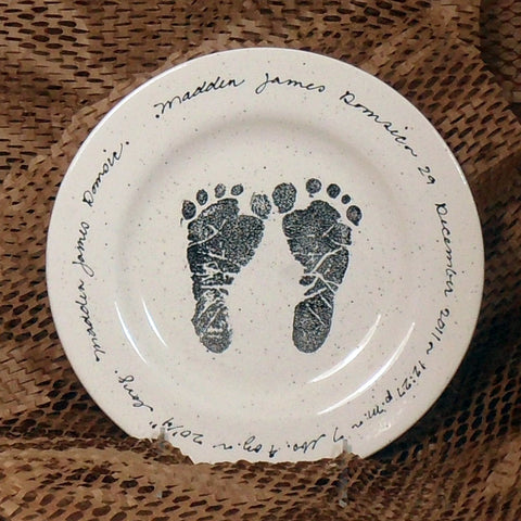 Baby Feet Birth Plate by Museware Pottery