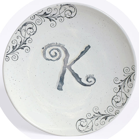 Monogrammed Guest Book Platter by Museware Pottery