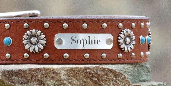 girl dog collars with daisy flower conchos