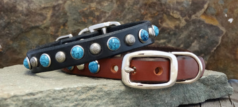 personalized leather dog collars with turquoise studs