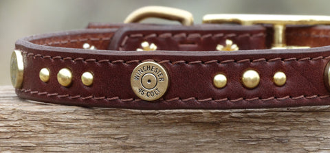 leather dog collar with Winchester shells