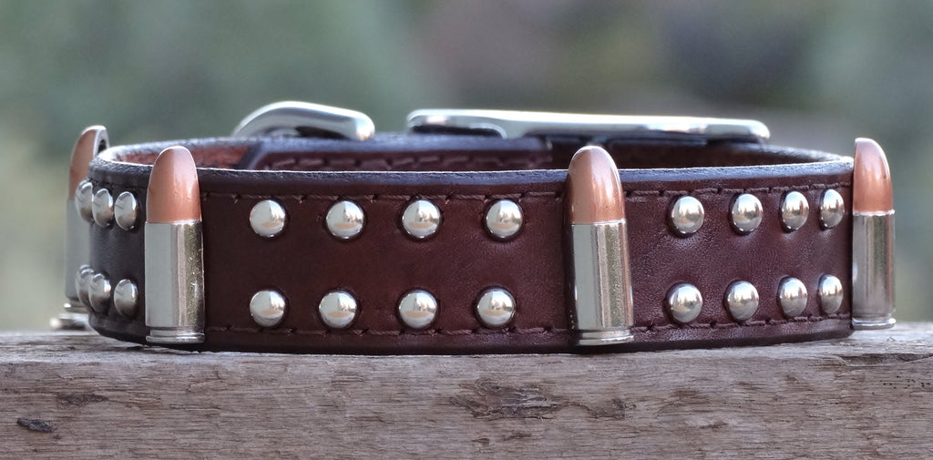 leather dog collar with bullets and studs