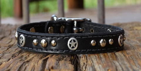 Western style Leather Dog Collar with stars