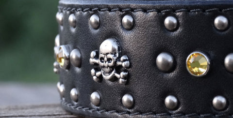 Extra Large Leather Dog Collar with skulls and crystals