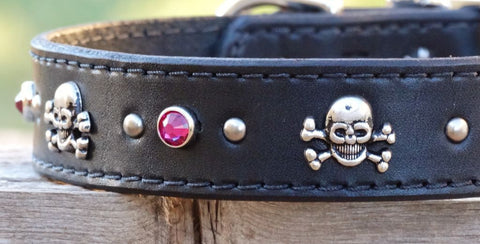 Big skull and crossbones dog collars