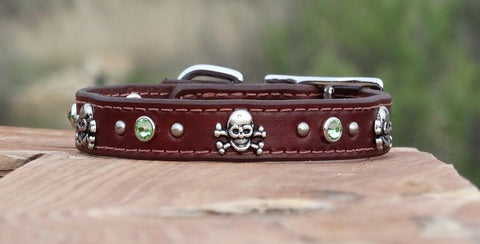 Medium Leather Dog Collar with skulls and crystals