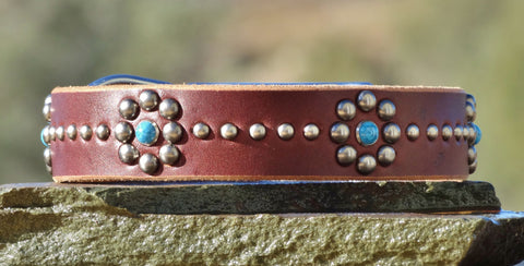 floral dog collar with turquoise stones