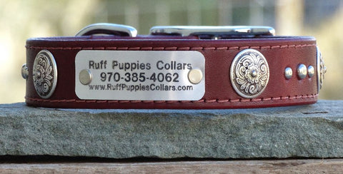 large leather dog collar with floral conchos and name plate 1 inch wide