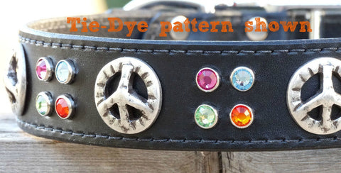 dog collar with peace sign conchos
