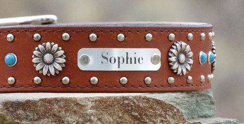 Brown leather girl Dog Collar with flower conchos and name plate