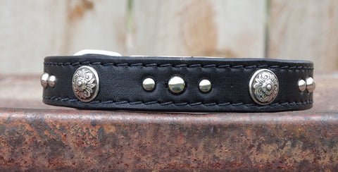 medium black leather dog collar with floral conchos
