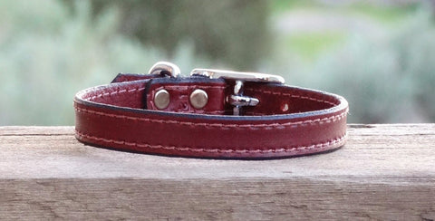 small brown leather dog collar