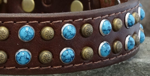 leather dog collar with turquoise and studs