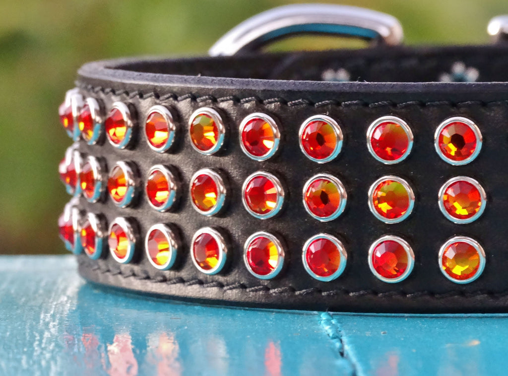 Huge leather dog collar with Swarovski crystals
