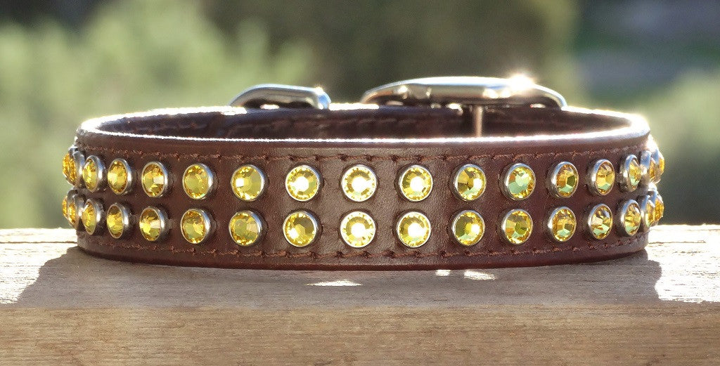 Big leather dog collar with crystals