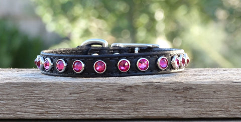 leather dog collar with crystals