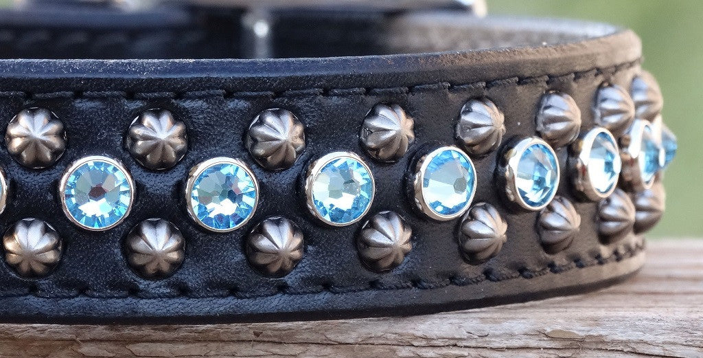 leather dog collar with crystals and studs