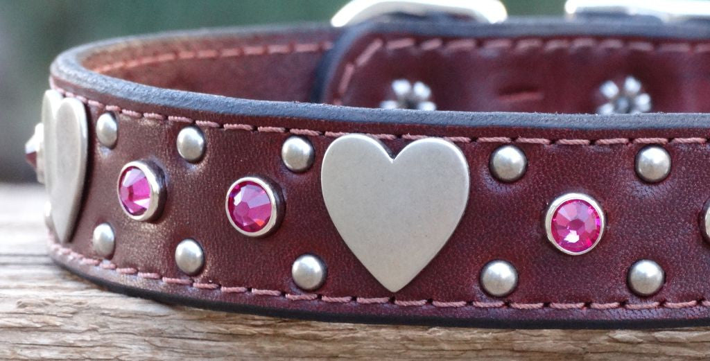 leather dog collar with hearts and crystals