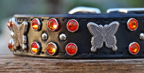 unique leather dog collar for big dogs with butterfly