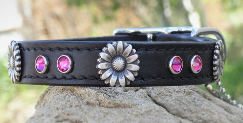 floral leather girl dog collar with crystals