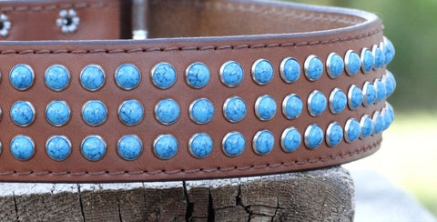 large leather dog collar with turquoise stones