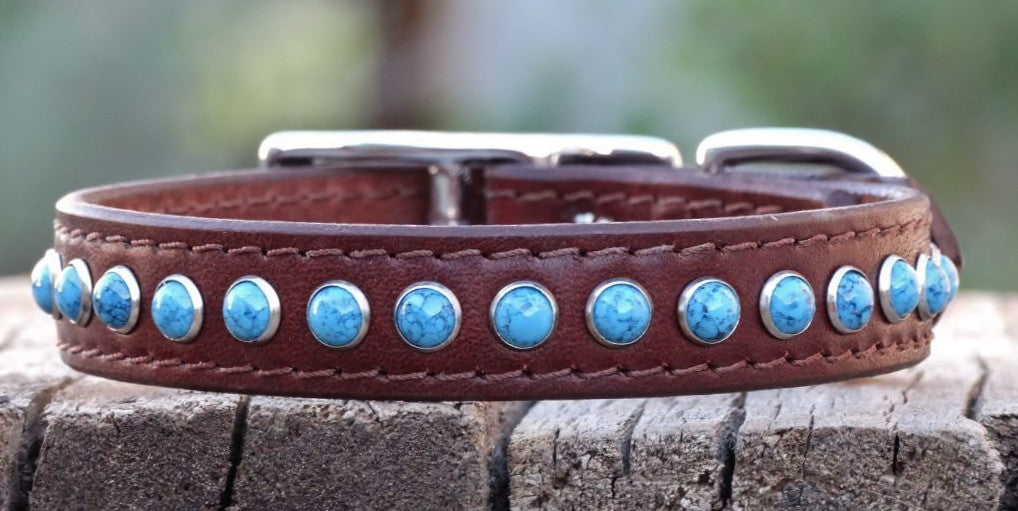 medium leather dog collar with turquoise stones
