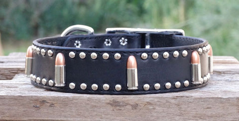 tough dog collars with bullet conchos