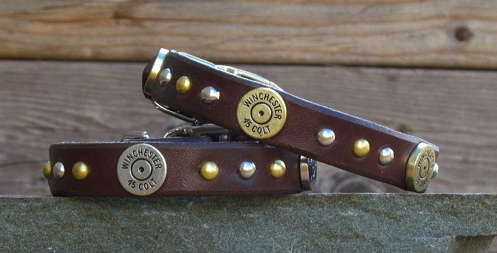 leather dog collar with winchester colt 45 shells