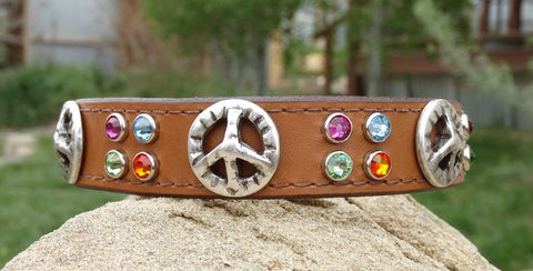 leather dog collar with peace sign conchos