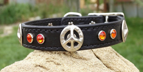 leather dog collar with peace signs and crystals