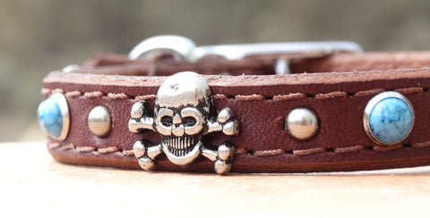 ruff puppies baton rouge skull and crossbones small leather dog collar