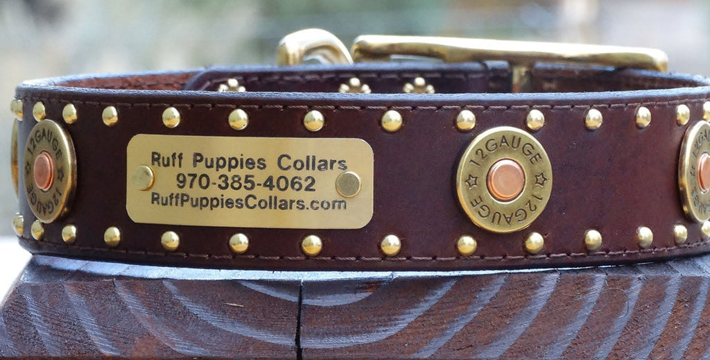 Extra large hunting dog collar with winchester colt 45 shells