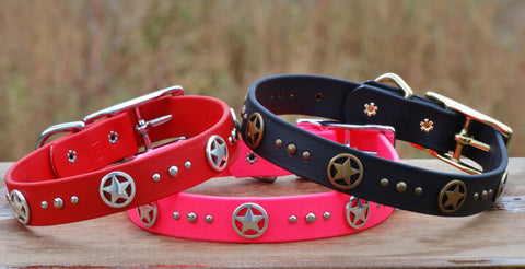 colorful waterproof dog collars with ranger stars