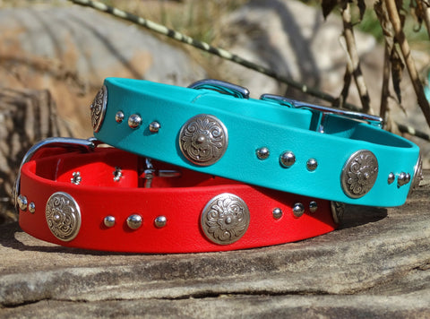 waterproof dog collars with floral conchos