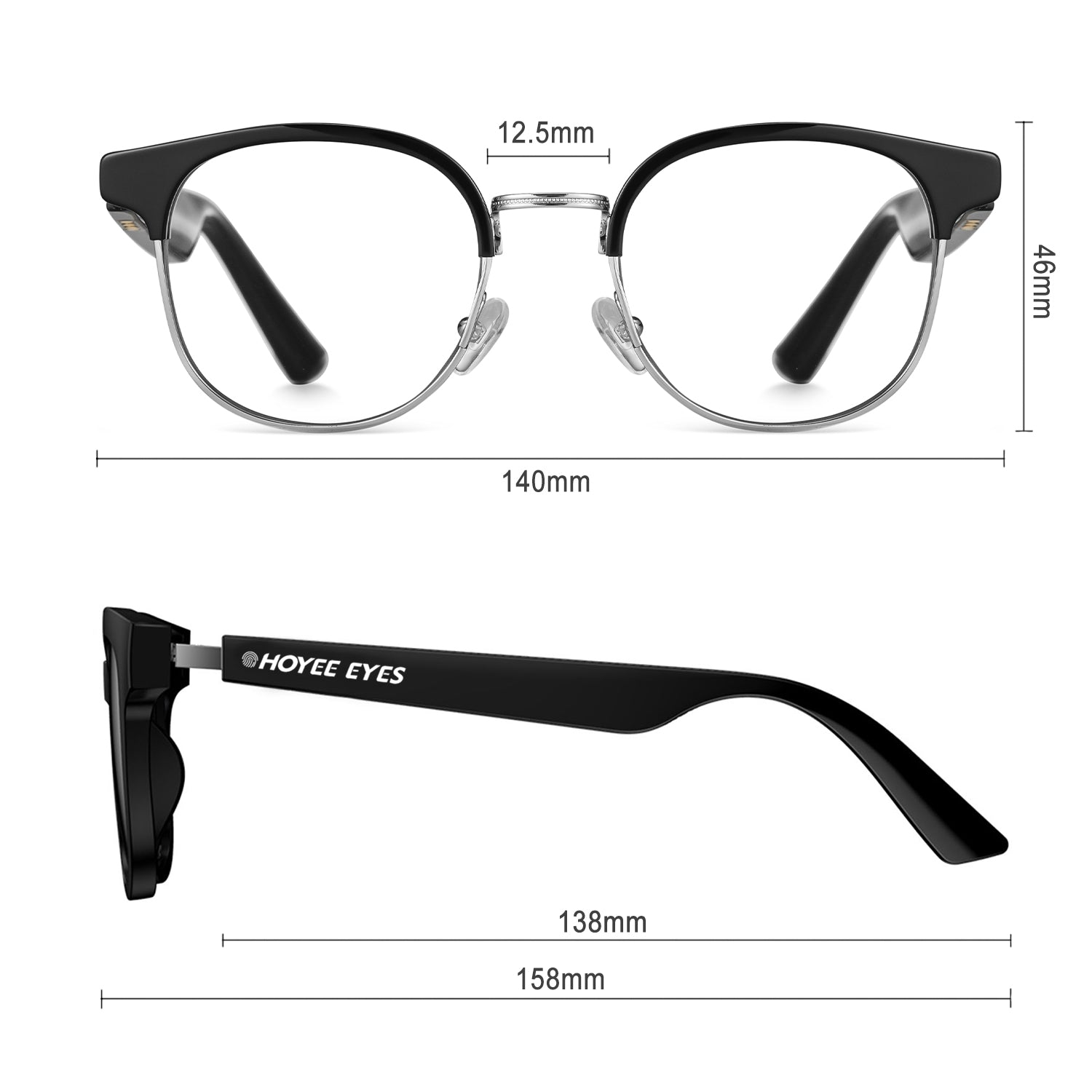 hoyee eyes luna smart blue light blockers dimensions