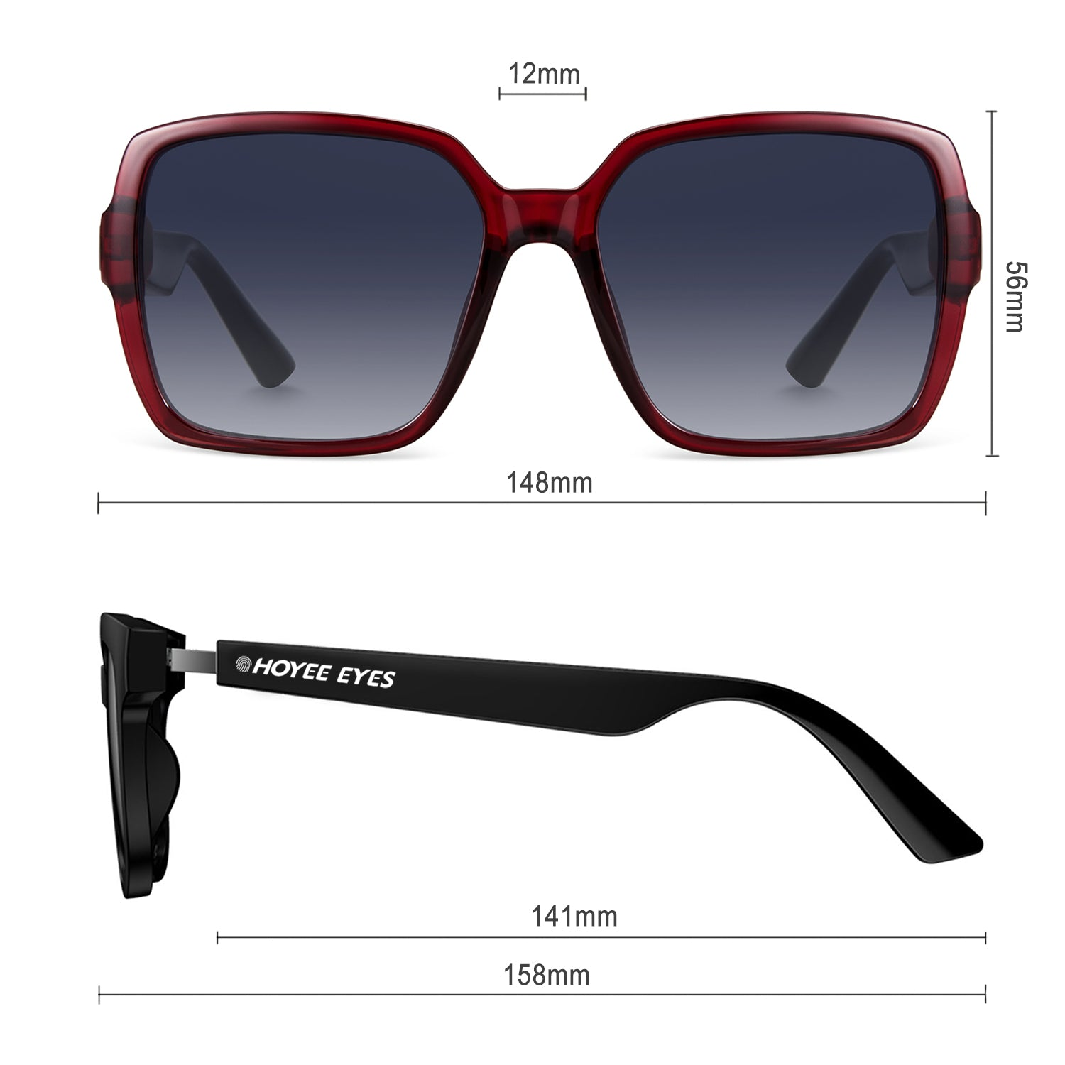 hoyee eyes monarch ruby smart audio sunglasses dimensions