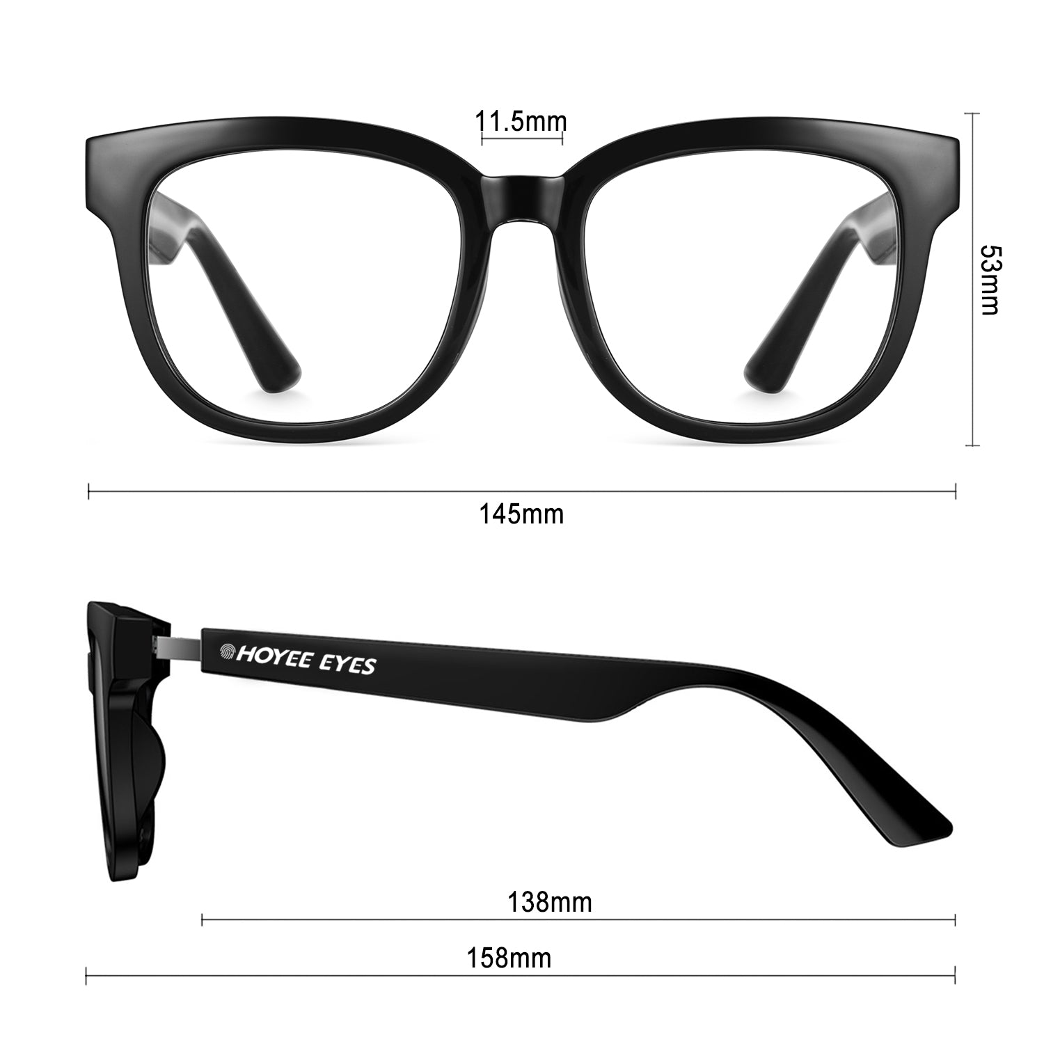hoyee eyes nova smart blue light blockers dimensions