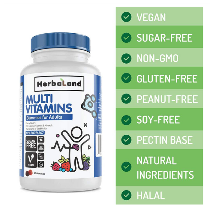 Herbaland Multivitamines Adulte 90 Gummies || Herbaland Multivitamins Adult 90 Gummies