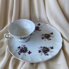 Load image into Gallery viewer, 1950s Lefton Tea Cup Shell Snack Tray Hand Painted China Violet Floral Pattern