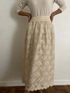 Antique ivory Lace Maxi Skirt