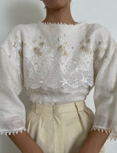 Load image into Gallery viewer, Antique Embroidered Linen White Blouse