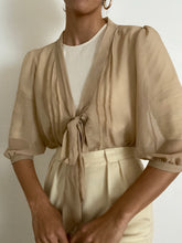Load image into Gallery viewer, Vintage Fromt Tie Tan Sheer Blouse